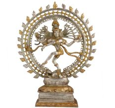 Brass Natraja Statue In Silver Golden Finish