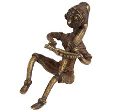 Brass Sitting Tribal Woman Statue�Combing Hair