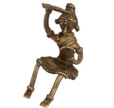 Brass Sitting Tribal Women Combing Hair looking Into A Mirror