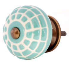 Sea Green Spider Net Etched  Ceramic Drawer Knobs
