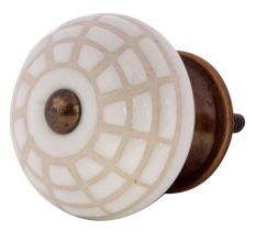 White Spider Net Etched  Ceramic Drawer Knobs