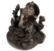 Black Brass Sitting Ganesha Blessing Pose Statue Idol For Gifting