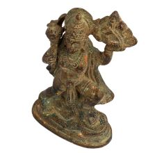 Brass Lord Hanuman Idol Holding Gadha And Dronagiri Mountain