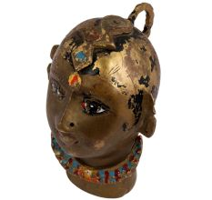 Hand Made Brass Tribal Lady Face Painted With Rich Patina