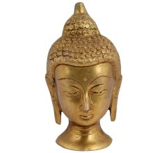 Hand Crafted Golden Brass Buddha Head Statue