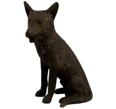 Hand Made Sitting Dog Statue With Lovely Fur Gifting Statue