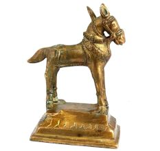 Tribal Golden Brass Standing Horse Statue