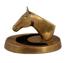 Brass Horse Head With Ashtray