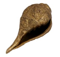 Carved God Image�Brass Shankh Conch Shell Showpiece