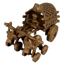 Carved Design Brass Bullock Cart Décor Showpiece