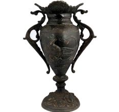 Black Brass Urn Flower Vase Mystical Birds Carved Pattern Clouds And Swirl Peacock Handles