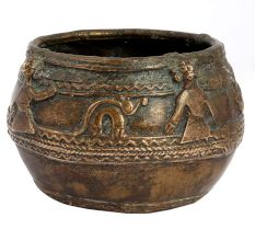 Brass Rice Measuring Pot Embossed With Tribal Figurines