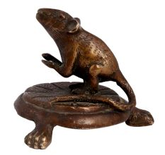 Brass Lord Ganesha's Mouse Statue On Stool