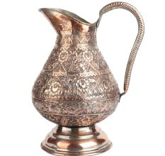 Rounded Copper Repousse Jug For Decoration