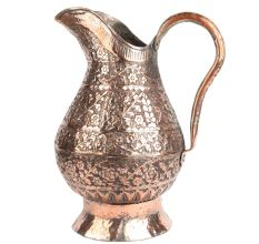 Handcrafted Copper Jug With Fine Carving Flower And Leaves Pattern