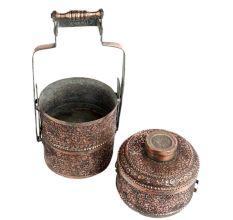 Copper Repousse Floral Motifs Vines Three Tier Lunch Box
