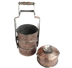Copper Repousse Four Tier Lunch Box Caved With Floral Motifs