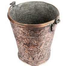 India Copper Bucket With Repousse Floral Motifs