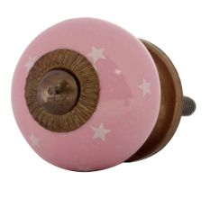 Pink White Tiny Star Pattern Cabinet Knobs