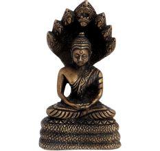 Brass Buddha Statue Sitting Under Snake Hood