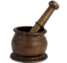 Traditional Brass Mortar Pestle Spice Herb Grinder