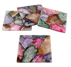 Multicolor Square Agate Coasters Set of 4 Pieces