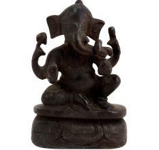 Black Brass Sitting Ganesha Decoration Statue
