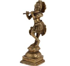 Brass Krishna Idol Statue Playing Flute For Worship