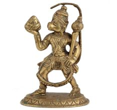 Handmade Brass Hanuman Statue With Sanjeevni In Hand