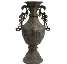Black Brass Urn Shaped Vase With Decorative Handles