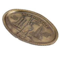 Brass Oval Tray Engraved Statue Of Liberty For Art Lovers