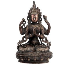 Brass Goddess Tara Seated On Lotus Throne