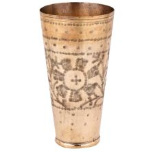 Brass Lassi Glass Etched With Tribal Flower Design
