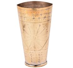 Brass Lassi Glass With Faded Flower Design