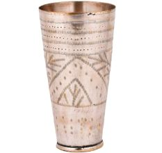 Brass Lassi Glass Carved Leaves In Arch And Nickel Finish