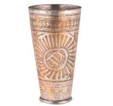 Brass Lassi Glass Jai Carved Big Sunflower And Indian Design