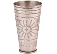 Brass Lassi Glass Carved With Indian Flower Design