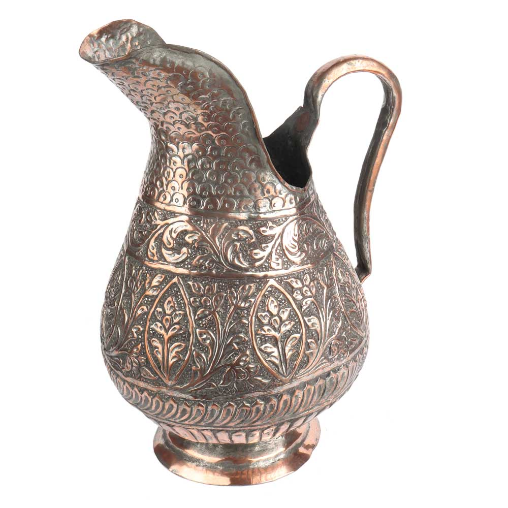 Copper Jug With Islamic Carved Floral Design