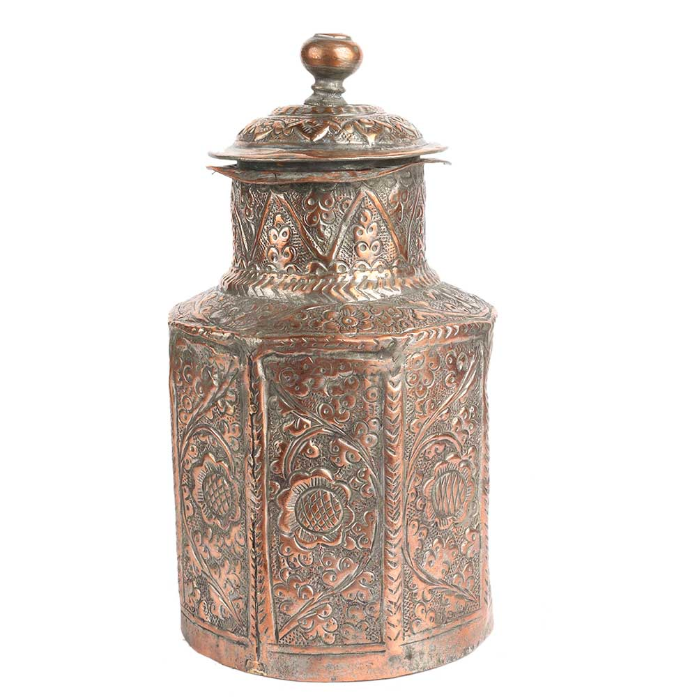 Copper Jar Canisters Hand-Embossed with Floral Motif