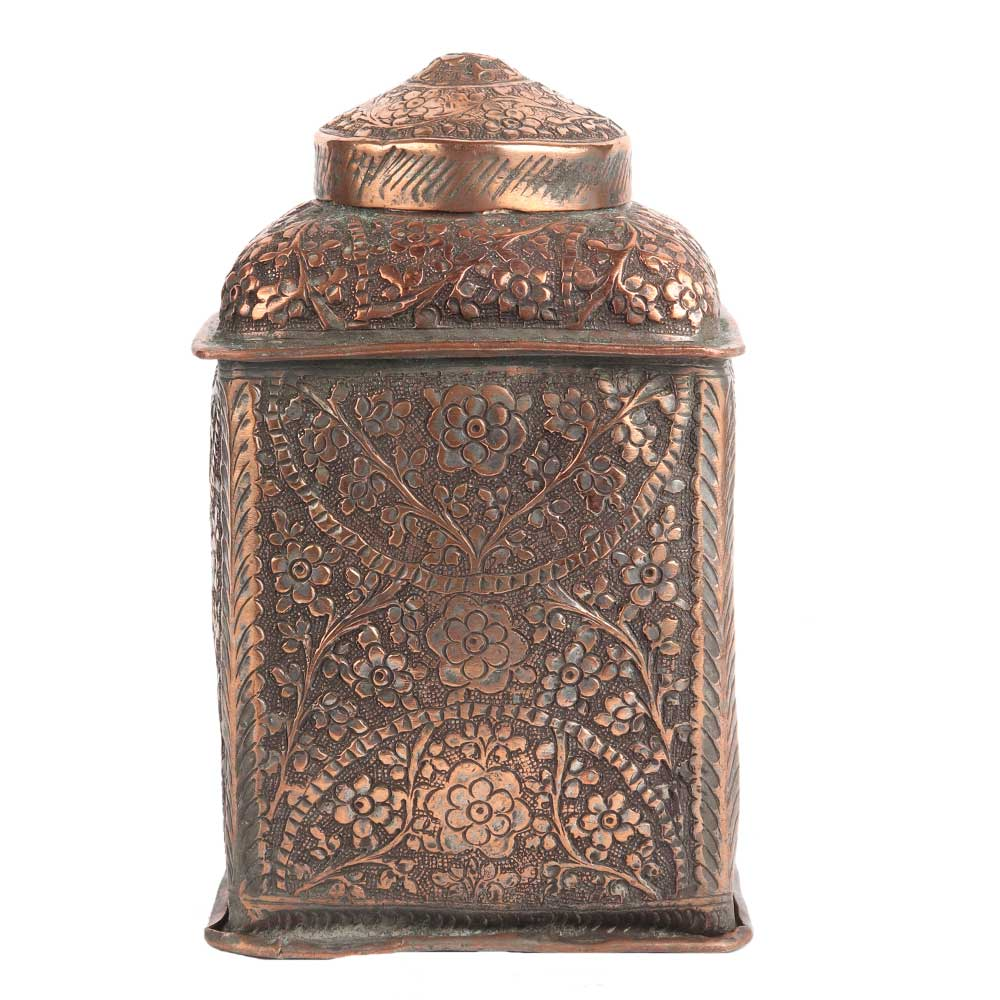 Vintage Copper Storage Jar Canisters With Repousse Floral Motifs