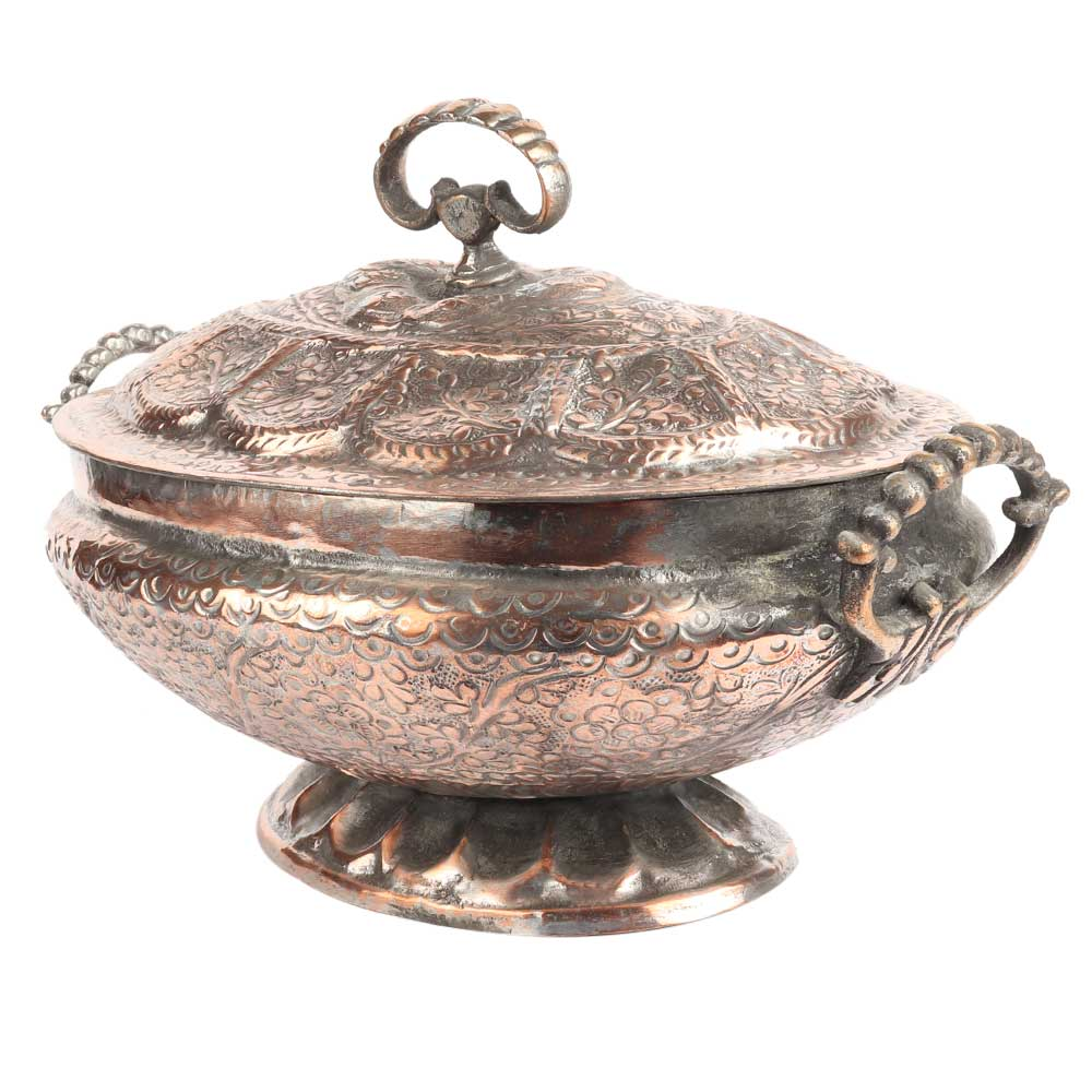 Kashmiri Copper Rice Bowl With Lid And Handles