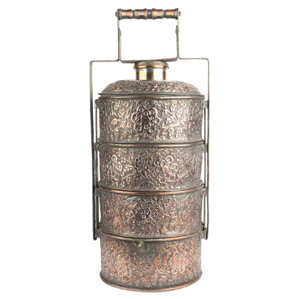 Embossed Copper Lunch Box Floral Motif Design 4 Tier Food Container