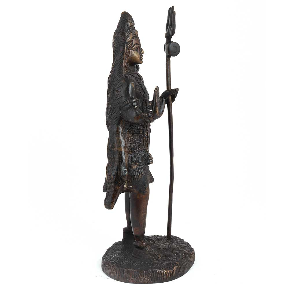 Brass Shiva Statue With Trishul Office Home Gift
