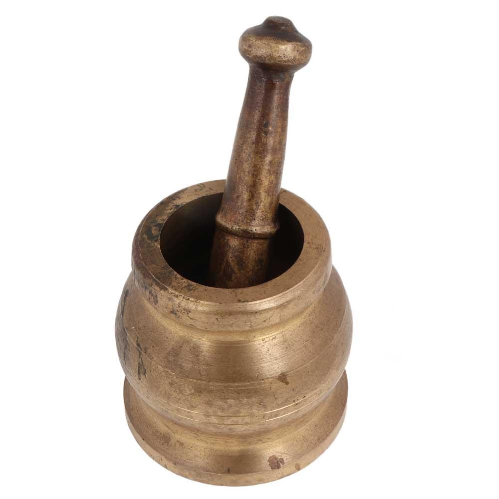 Brass Mortar And Pestle Spice Medicine Grinder Masher