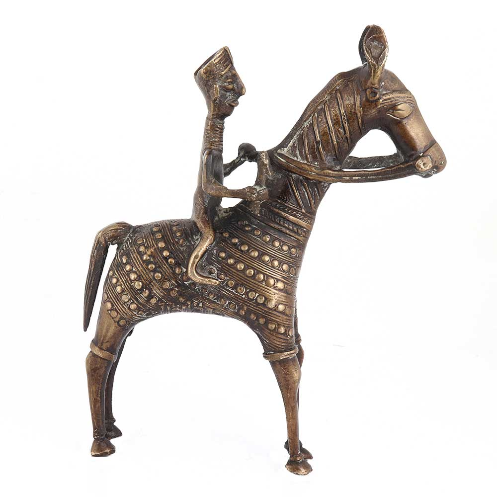 Tribal Statue Of Brass Rider On Horse