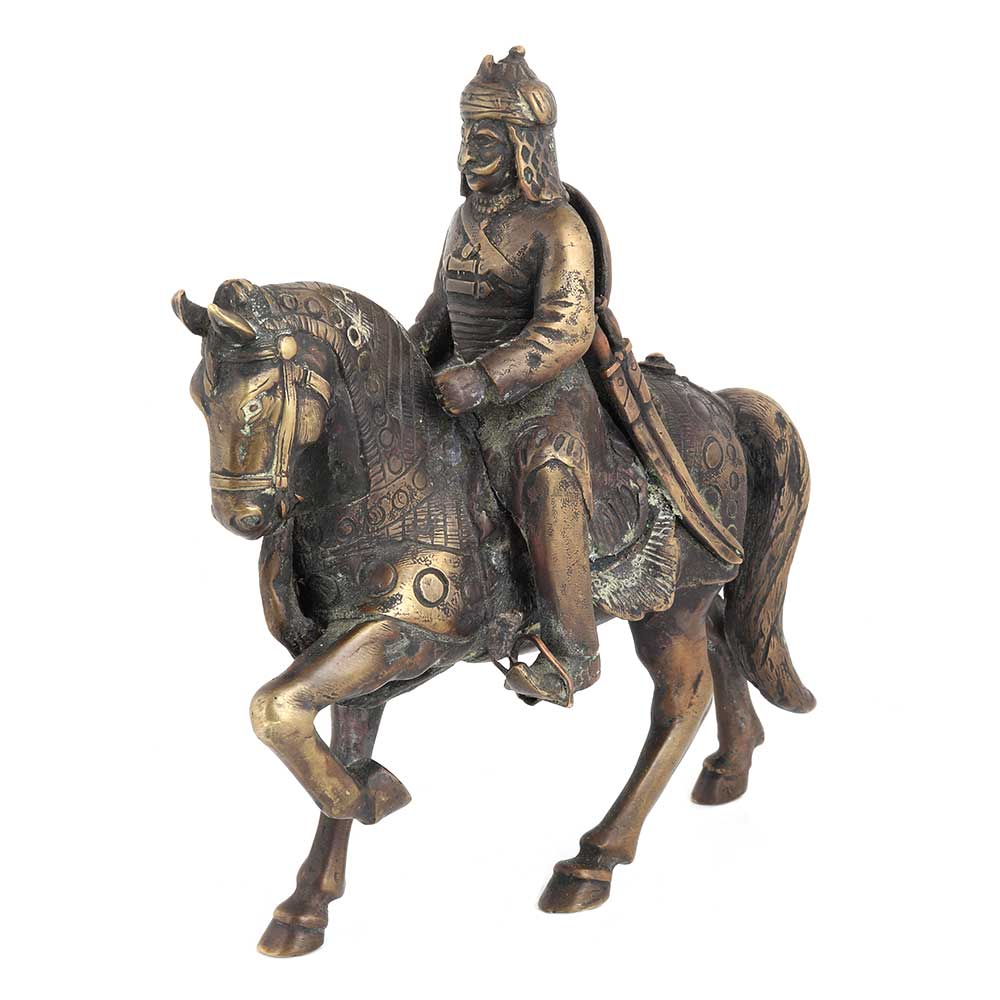 Brass Indian Solider Historic Statue