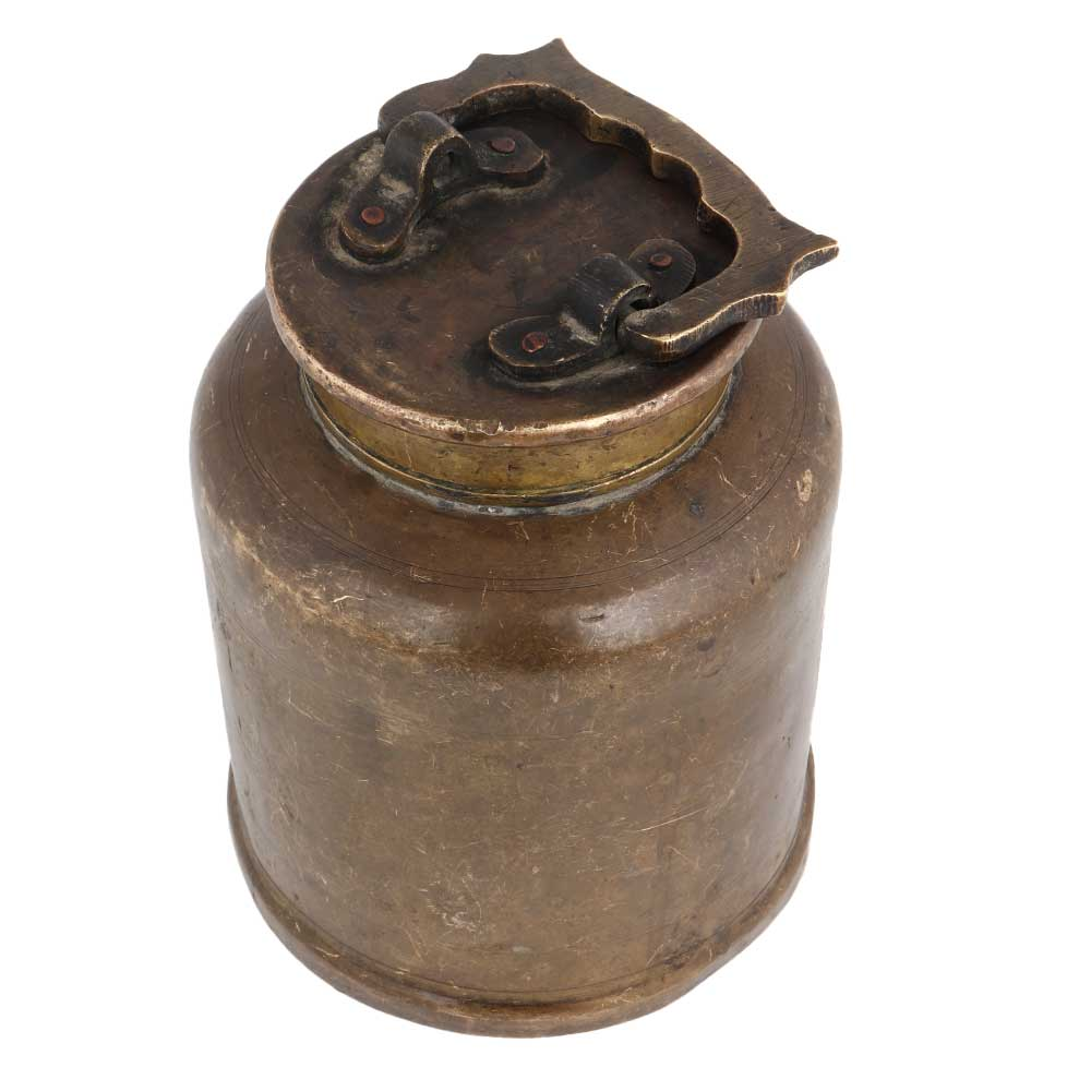 Brass Jar Storage Canister With Swing Handle On Lid
