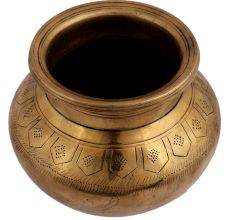 Brass Water Pot With South Indian Design Engraved on Neck
