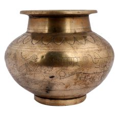 Brass Holy Water Pot Engraved Image Of An Indian god And Crocodile