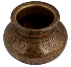 Old Brass Pot With Faded Design Used For Worship
